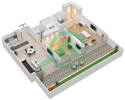 المخططات الطابقية لتصميم النموذج / الوحدة 2A/13 شقة 2 غرفة نوم - شايستا عزيزي