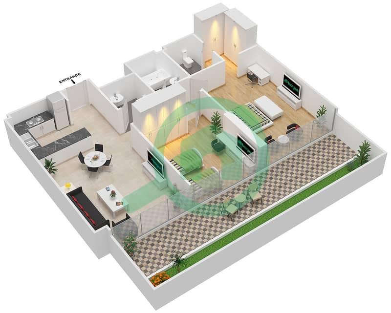 المخططات الطابقية لتصميم النموذج / الوحدة 2A/13 شقة 2 غرفة نوم - شايستا عزيزي Floor 1 image3D
