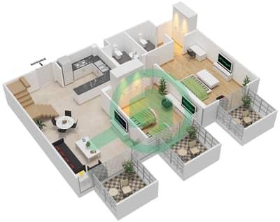 المخططات الطابقية لتصميم النموذج / الوحدة 6B/13 شقة 2 غرفة نوم - شايستا عزيزي