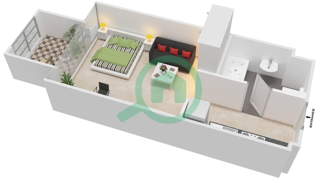 المخططات الطابقية لتصميم النموذج / الوحدة 1B/23 شقة  - شايستا عزيزي Floor 2-12 image3D