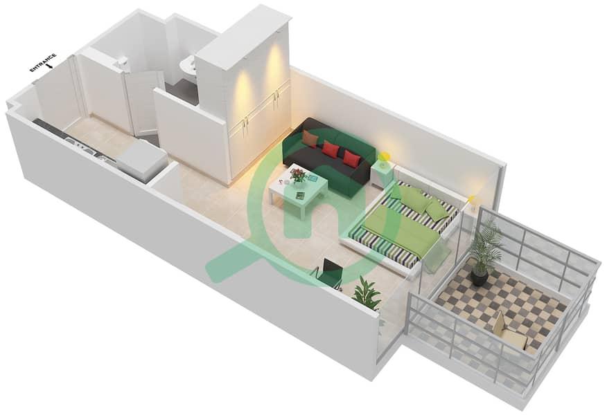 المخططات الطابقية لتصميم النموذج / الوحدة 1B/22 شقة  - شايستا عزيزي Floor 2-11 image3D
