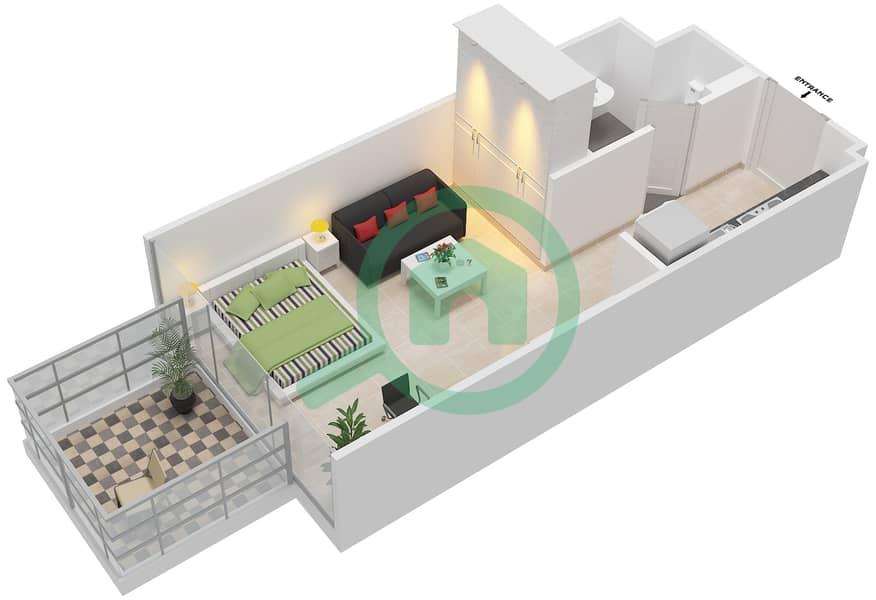 المخططات الطابقية لتصميم النموذج / الوحدة 1B /18 شقة  - شايستا عزيزي Floor 2-11 image3D