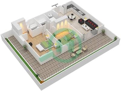 المخططات الطابقية لتصميم النموذج / الوحدة 3A /18 شقة 2 غرفة نوم - شايستا عزيزي
