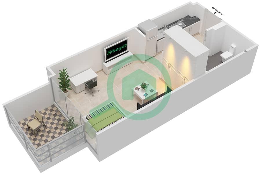 المخططات الطابقية لتصميم النموذج / الوحدة 1B /16 شقة  - شايستا عزيزي Floor 2-11 image3D