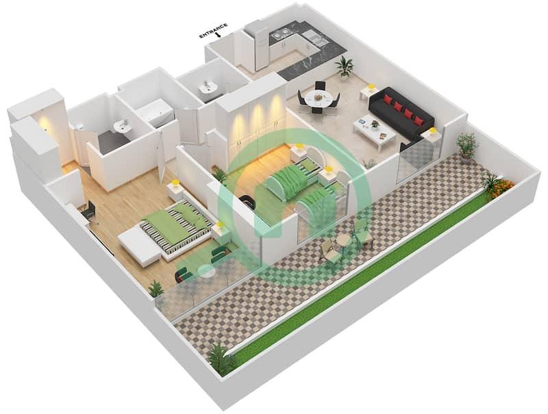 المخططات الطابقية لتصميم النموذج / الوحدة 2A/16 شقة 2 غرفة نوم - شايستا عزيزي Floor 1 image3D