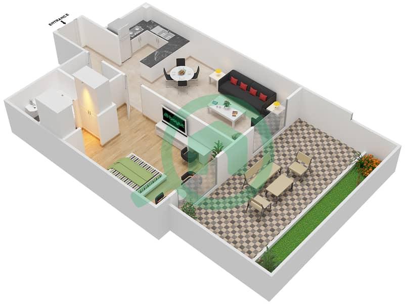 المخططات الطابقية لتصميم النموذج / الوحدة 3A /15 شقة 1 غرفة نوم - شايستا عزيزي Floor 1 image3D