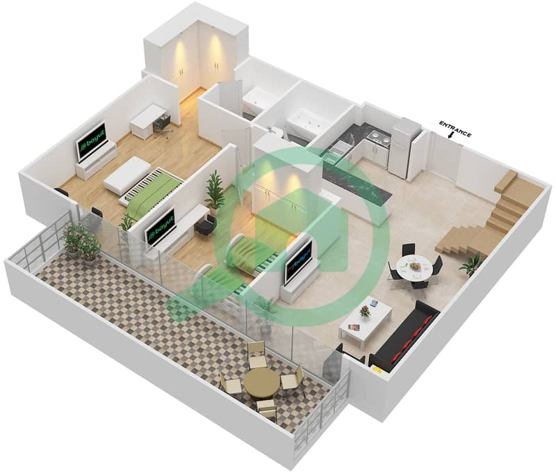 المخططات الطابقية لتصميم النموذج / الوحدة 6B /16 شقة 2 غرفة نوم - شايستا عزيزي Lower Floor-12 Floor image3D