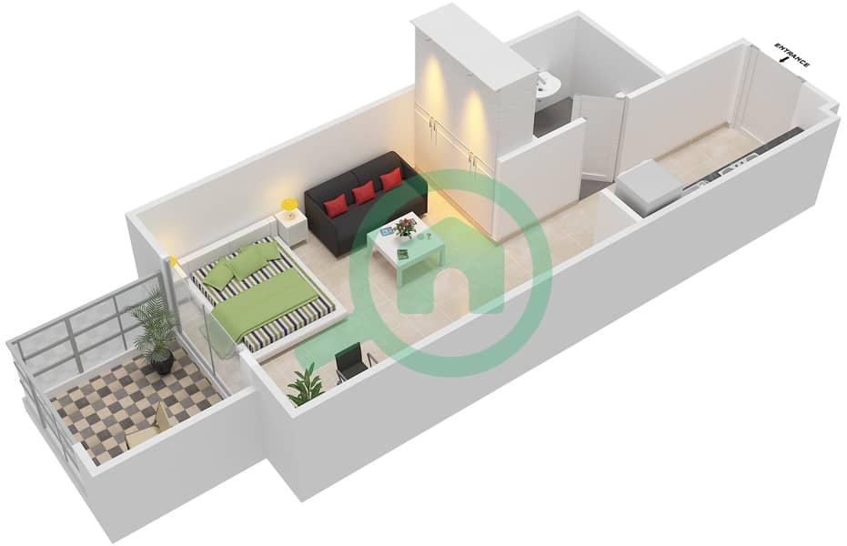 المخططات الطابقية لتصميم النموذج / الوحدة 1B/10 شقة  - شايستا عزيزي Floor 2-11 image3D