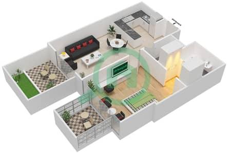 المخططات الطابقية لتصميم النموذج / الوحدة 3A/ 10 شقة 1 غرفة نوم - شايستا عزيزي