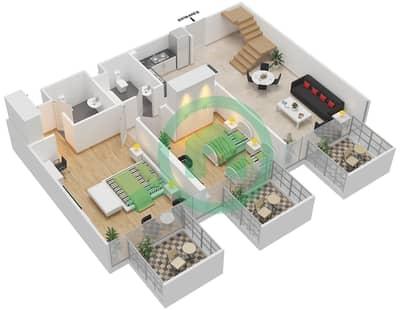 المخططات الطابقية لتصميم النموذج / الوحدة 6B /10 شقة 2 غرفة نوم - شايستا عزيزي