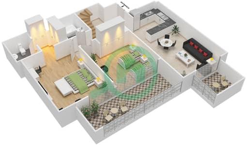 المخططات الطابقية لتصميم النموذج / الوحدة 5B/09 شقة 2 غرفة نوم - شايستا عزيزي