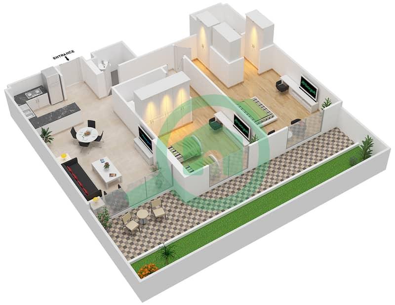المخططات الطابقية لتصميم النموذج / الوحدة 1A/ 07 شقة 2 غرفة نوم - شايستا عزيزي Floor 1 image3D