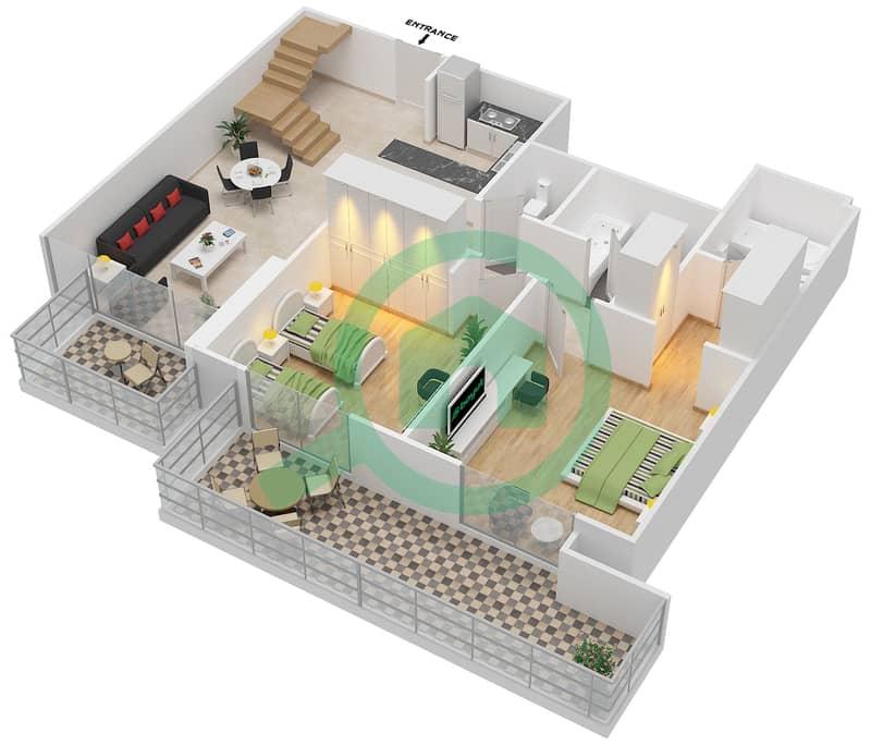 المخططات الطابقية لتصميم النموذج / الوحدة 5B/07 شقة 2 غرفة نوم - شايستا عزيزي Lower Floor-Floor 12 image3D