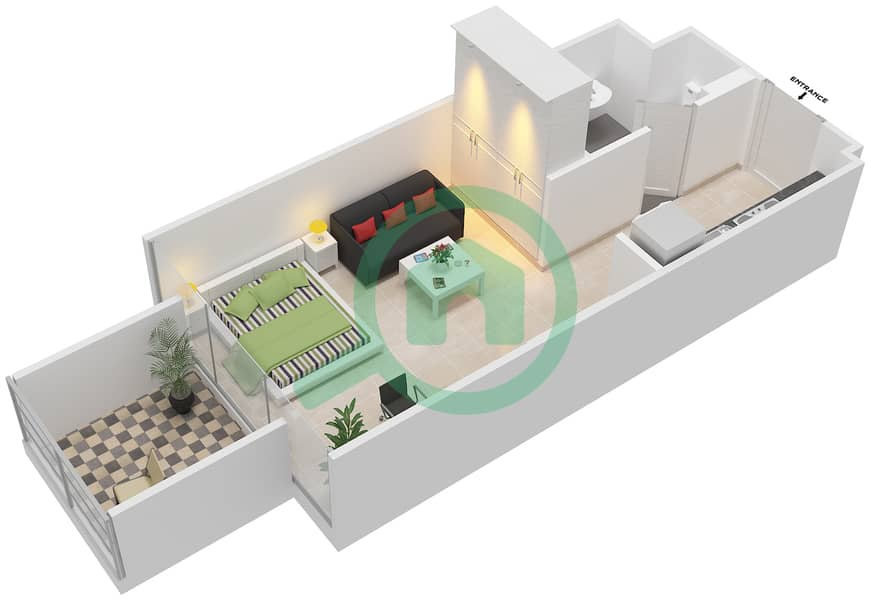 المخططات الطابقية لتصميم النموذج / الوحدة 1A/12 شقة  - شايستا عزيزي Floor 1 image3D