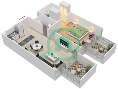 المخططات الطابقية لتصميم النموذج / الوحدة 3B/12 شقة 1 غرفة نوم - شايستا عزيزي