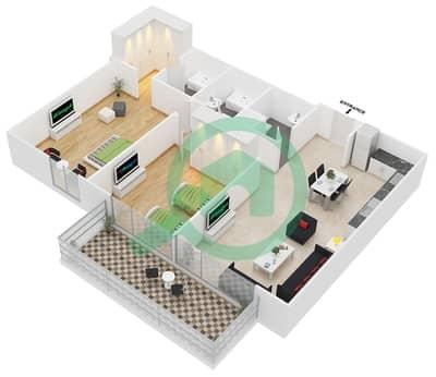 سامية عزيزي - 2 غرفة شقق وحدة 25 مخطط الطابق