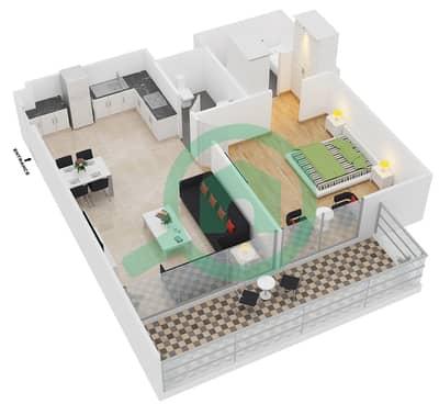 سامية عزيزي - 1 غرفة شقق وحدة 24 مخطط الطابق
