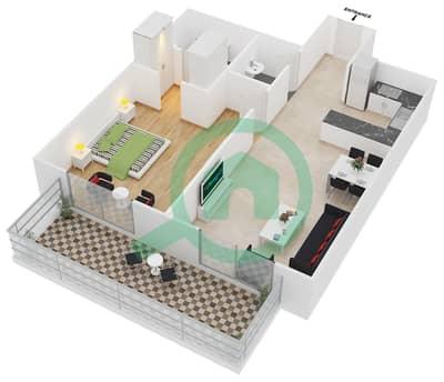 سامية عزيزي - 1 غرفة شقق وحدة 20 مخطط الطابق
