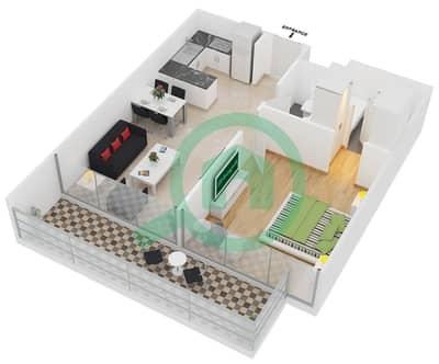 سامية عزيزي - 1 غرفة شقق وحدة 17 مخطط الطابق