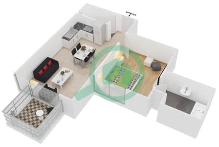 سامية عزيزي - 1 غرفة شقق وحدة 14 مخطط الطابق