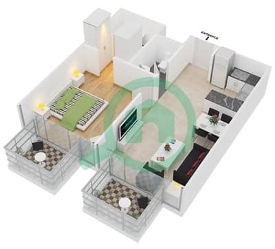 سامية عزيزي - 1 غرفة شقق وحدة 13 مخطط الطابق