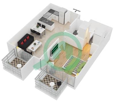 سامية عزيزي - 1 غرفة شقق وحدة 12 مخطط الطابق