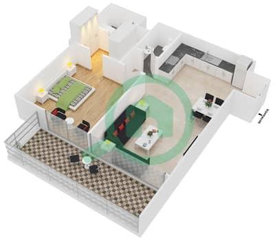 سامية عزيزي - 1 غرفة شقق وحدة 11 مخطط الطابق