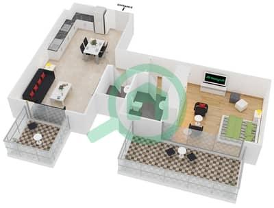 سامية عزيزي - 1 غرفة شقق وحدة 5 مخطط الطابق
