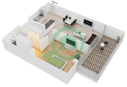 سامية عزيزي - 1 غرفة شقق وحدة 2 مخطط الطابق