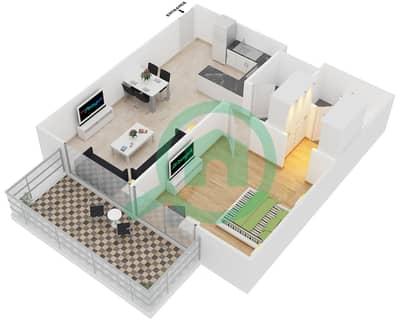 سامية عزيزي - 1 غرفة شقق وحدة 1 مخطط الطابق