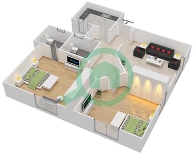 المخططات الطابقية لتصميم النموذج A2 شقة 2 غرفة نوم - برج المروى 3