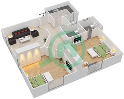 المخططات الطابقية لتصميم النموذج A1 شقة 2 غرفة نوم - برج المروى 3
