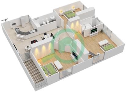 المخططات الطابقية لتصميم النموذج A4 شقة 3 غرف نوم - برج المروى 3