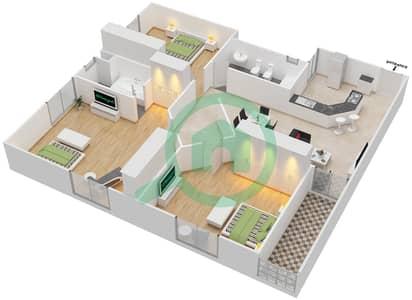 المخططات الطابقية لتصميم النموذج A3 شقة 3 غرف نوم - برج المروى 3