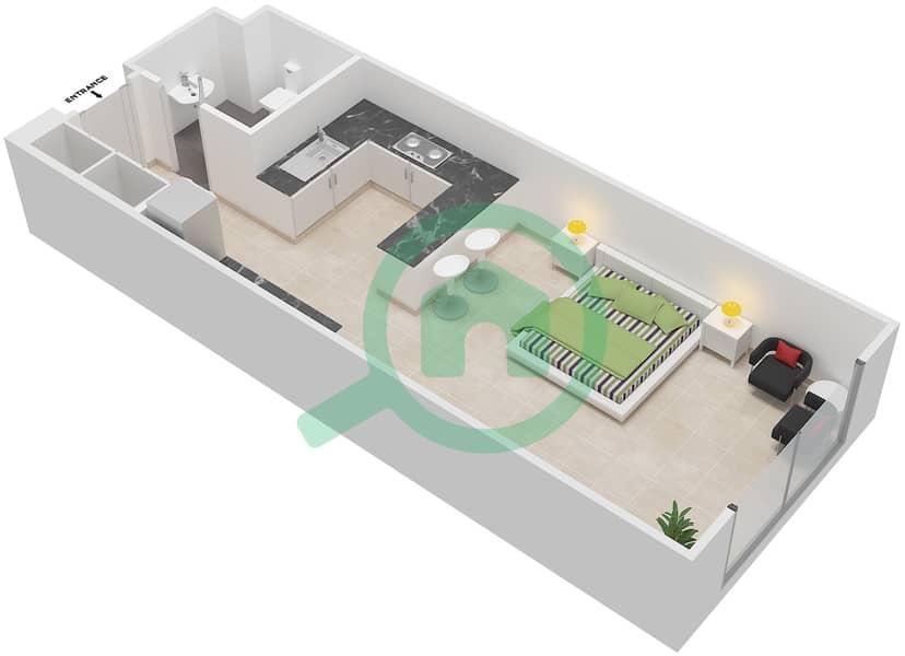Bab Al Bahr - Studio Apartment Type AA Floor plan image3D