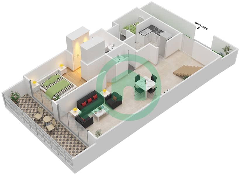 Bab Al Bahr - 3 Bedroom Townhouse Type D Floor plan Lower Floor image3D