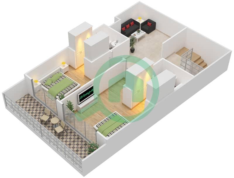 Bab Al Bahr - 3 Bedroom Townhouse Type D Floor plan Upper Floor image3D