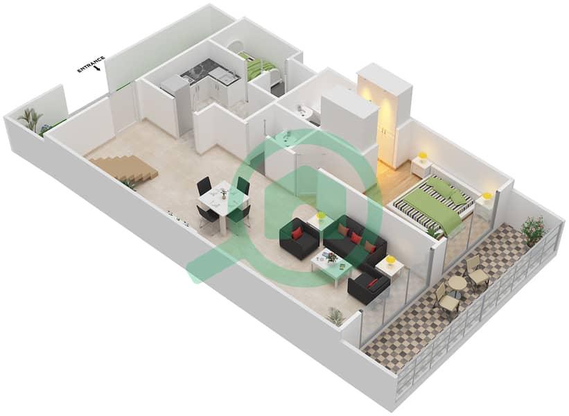 Bab Al Bahr - 3 Bedroom Townhouse Type B Floor plan Lower Floor 3D