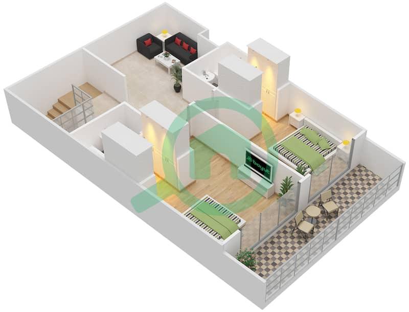 Bab Al Bahr - 3 Bedroom Townhouse Type B Floor plan Upper Floor 3D