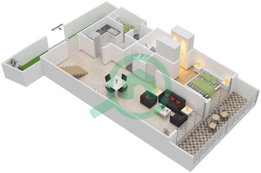 Bab Al Bahr - 3 Bedroom Townhouse Type A Floor plan Lower Floor 3D