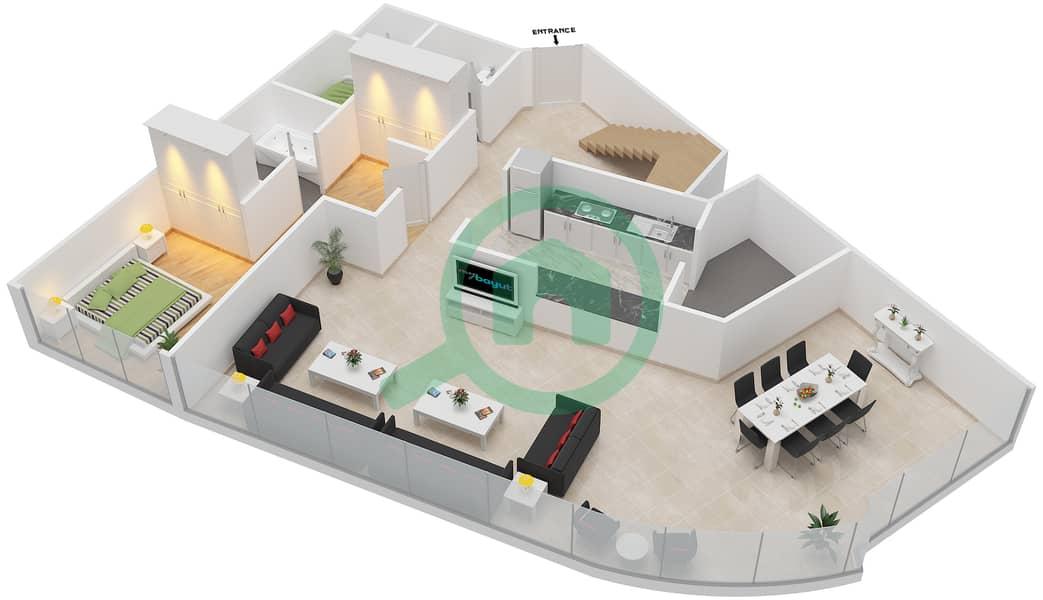 Bab Al Bahr - 4 Bedroom Apartment Type 4 Floor plan Lower Floor image3D