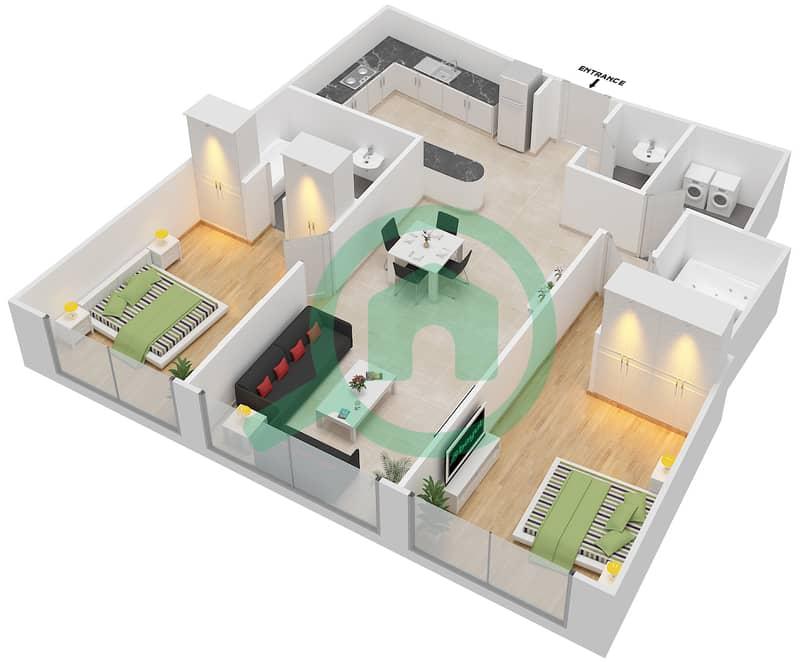 Bab Al Bahr - 2 Bedroom Apartment Type 3 Floor plan 3D