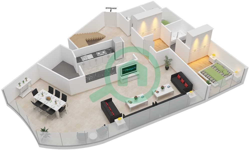 Bab Al Bahr - 4 Bedroom Apartment Type 3 Floor plan Lower Floor 3D