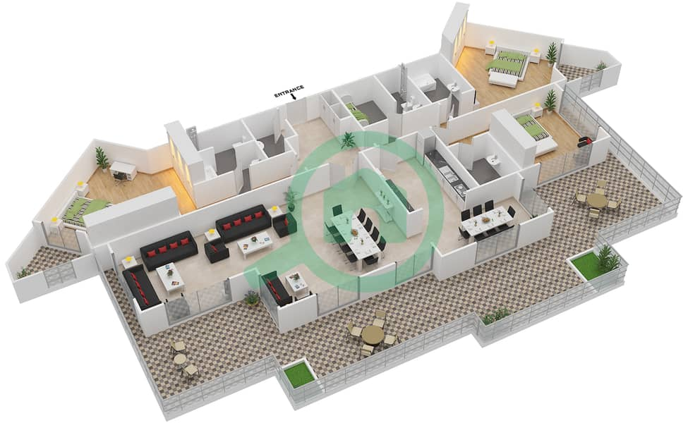 Bab Al Bahr - 3 Bedroom Penthouse Type PH Floor plan 3D