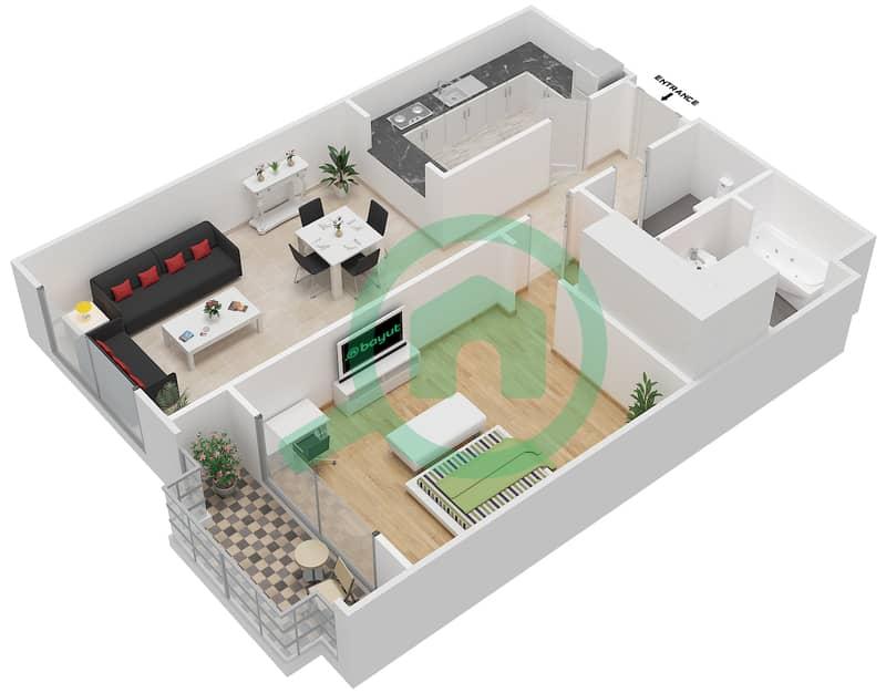 Bab Al Bahr - 1 Bedroom Apartment Type BB Floor plan 3D