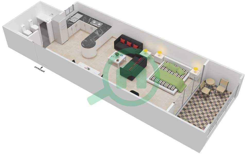 المخططات الطابقية لتصميم النموذج C شقة  - شقق الحمراء فيليج جولف image3D