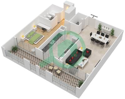 Al Hamra Village Golf Apartments - 1 Bedroom Apartment Type B Floor plan