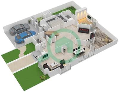 المخططات الطابقية لتصميم النموذج B تاون هاوس 4 غرف نوم - قرية العيون