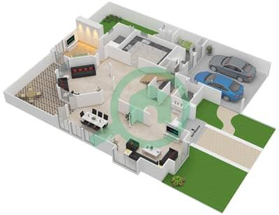 المخططات الطابقية لتصميم النموذج A تاون هاوس 4 غرف نوم - قرية العيون