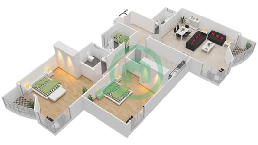Al Khor Towers - 2 Bedroom Apartment Type B1 Floor plan